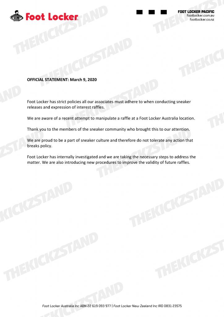 , Foot Locker Australia: Official Statement